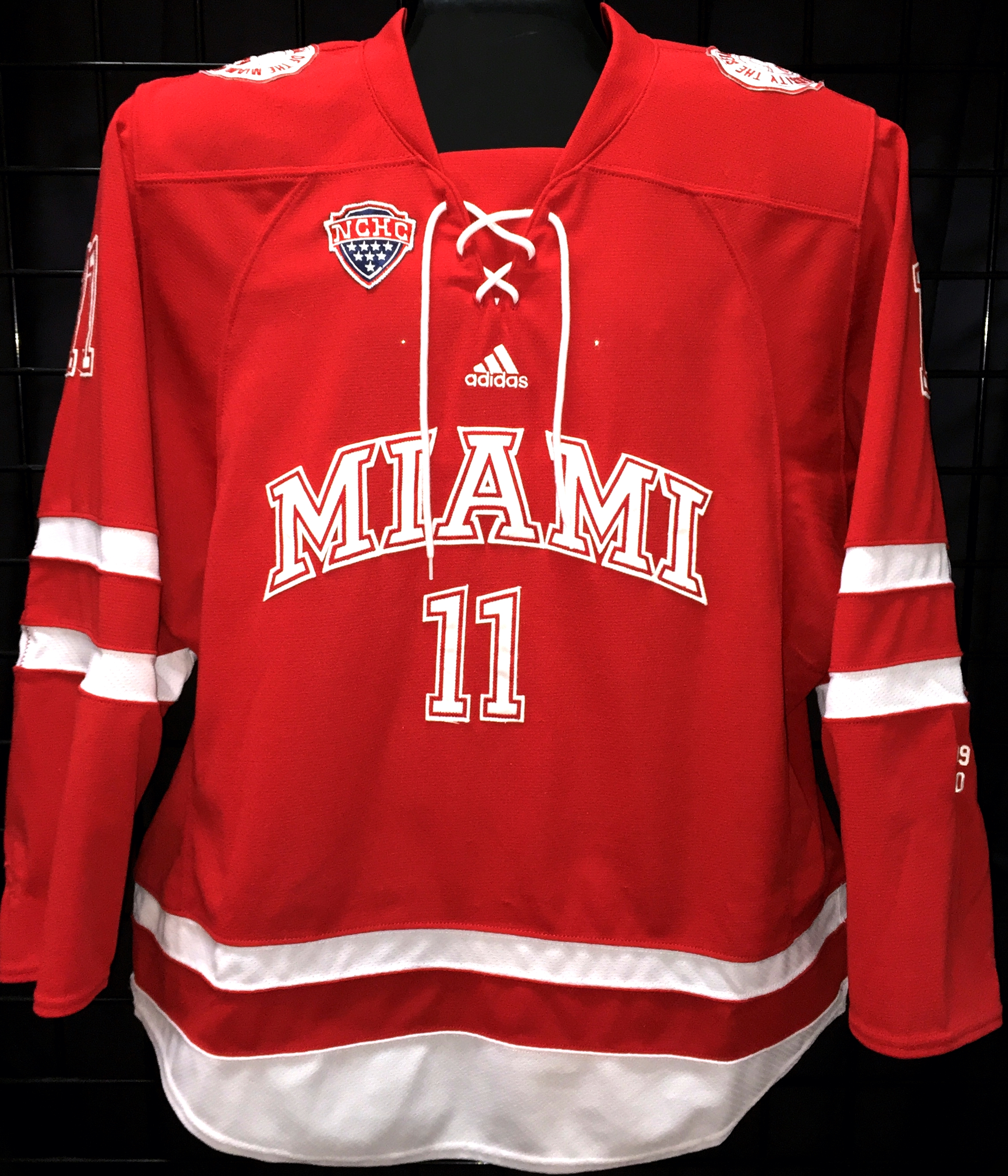 Description  14 15 game worn Miami of Ohio hockey jersey worn by Riley  Barber (Washington Capitals) f3e8d479cb1
