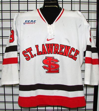 Description  08 09 game worn St. Lawrence University hockey jersey worn by  Kevin DeVergilio e88c1e19e01