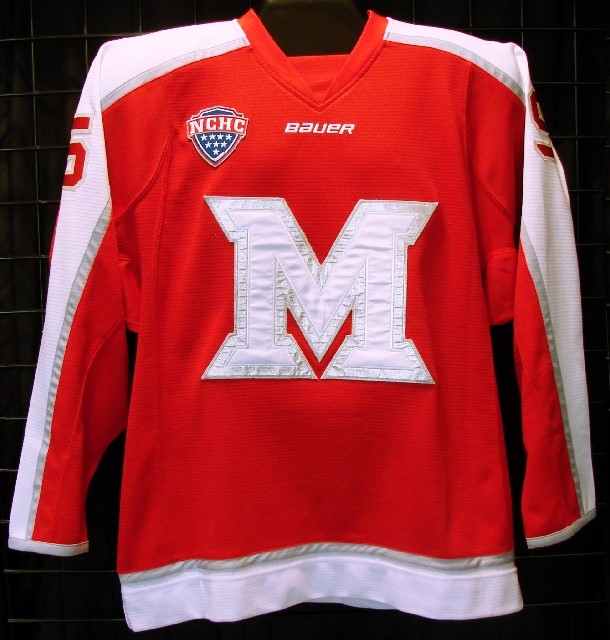 Description  13 14 game worn Miami of Ohio hockey jersey worn by Anthony  Louis fc495dba3fc